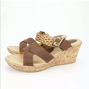 Born BOC Izabel Wedge Slide Brown Platform Sandal